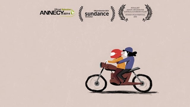 guy with a girl motorcicle animation simple minimal red sundance annecy 2014 late night work club