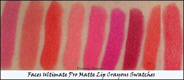 Faces Ultimate Pro Matte Lip Crayons Swatches