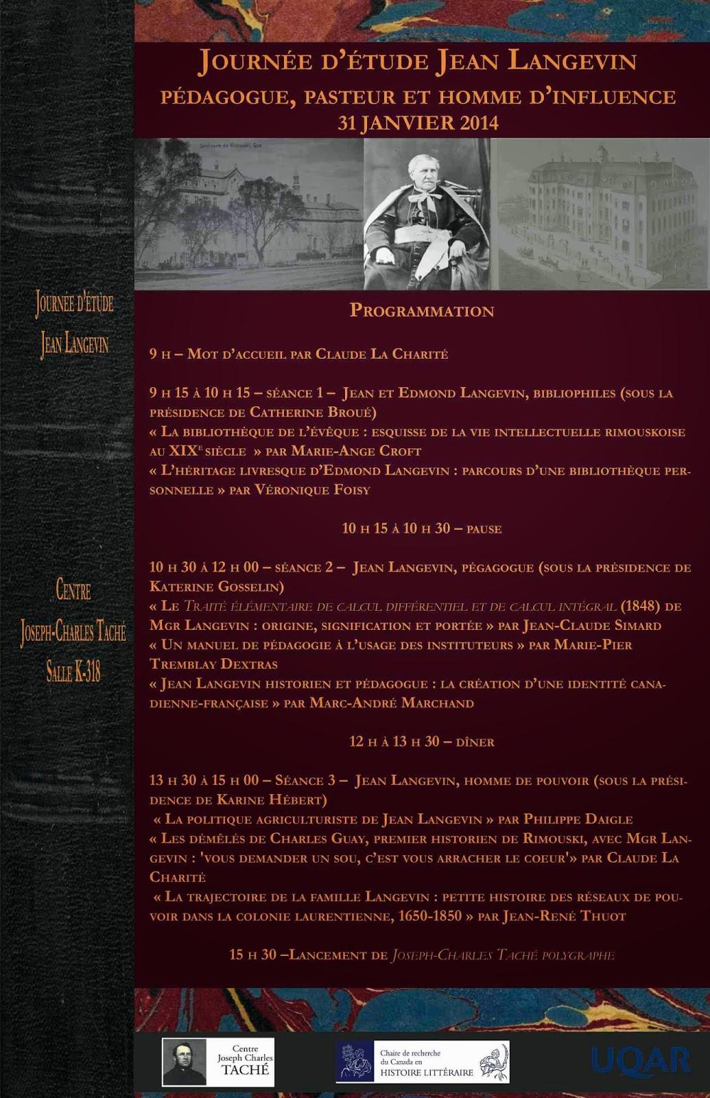 Journée d'étude Jean Langevin, Rimouski 2014