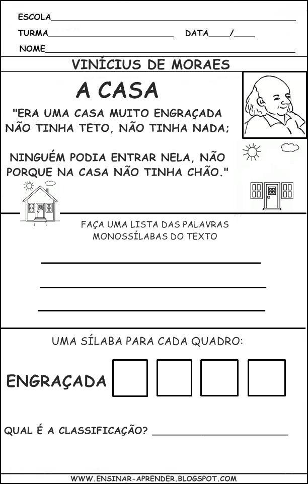 Atividade Do Poema A Casa Vin  Cius De Moraes