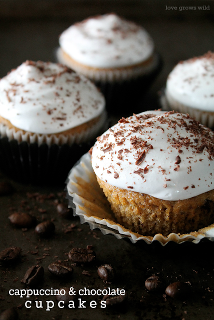 Cappuccino & Chocolate Cupcakes are the perfect sweet treat to enjoy with a cup of joe! So decadent, rich, and aromatic, you'll love these delicious cakes! LoveGrowsWild.com #cupcake  #dessert #chocolate #coffee