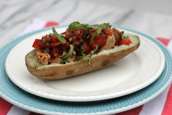Chicken Bruschetta Potato Skins