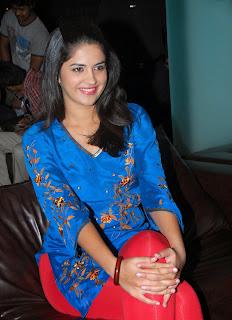 Deeksha Seth in Blue Suit at Wanted Merchandise Launch
