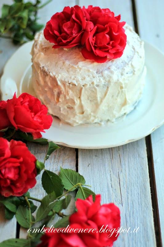 white coconut rose cake