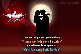 Frases De Amor: Tus Abrazos Parece Que Me Dicen Nunca Me Dejes Sin Tu Calor Y Mis Besos Te Responden Contigo Para Toda La Vida