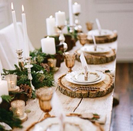 deco mesa navidad tronco