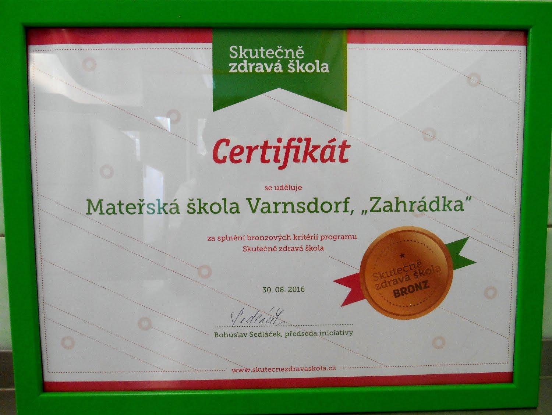 Certifikát Skutečně zdravá škola