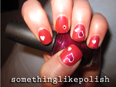 essence red-y to go opi the one that go away heart nail art