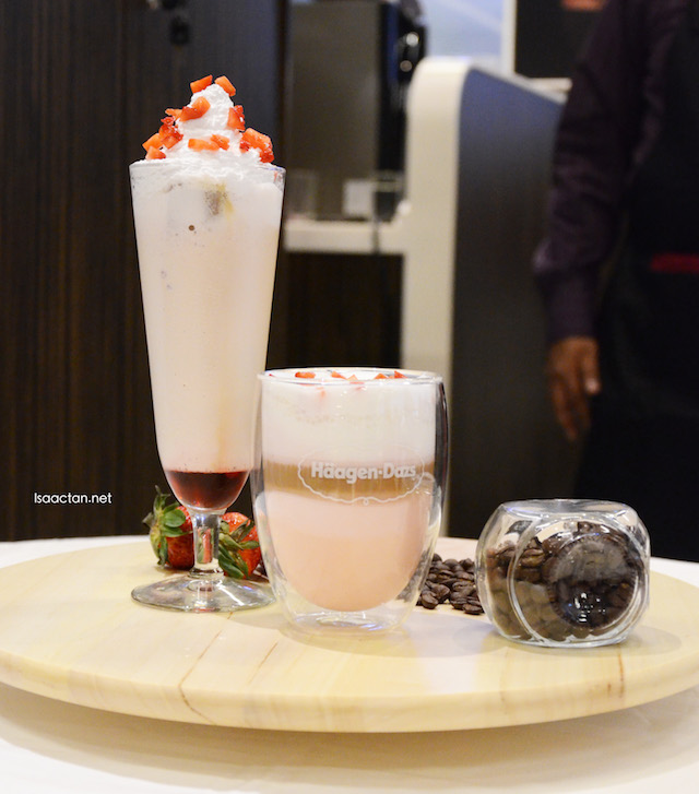 Strawberry flavoured latte