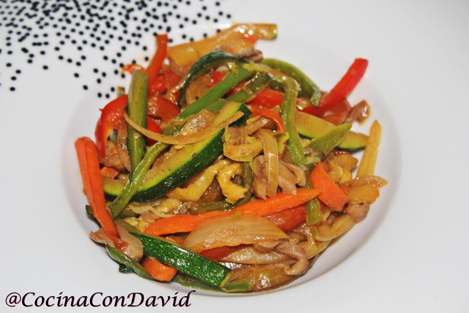 cocinacondavid wok de verduras y setas