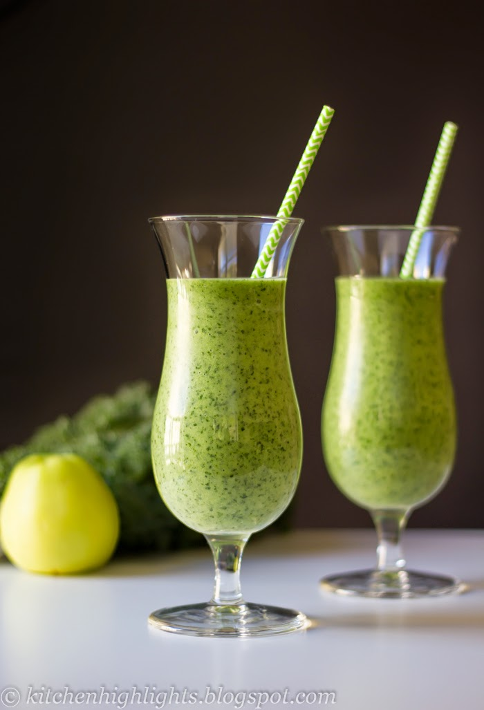 his vibrant green smoothie combines the nutrient-rich kale with the sweetness of bananas and apples