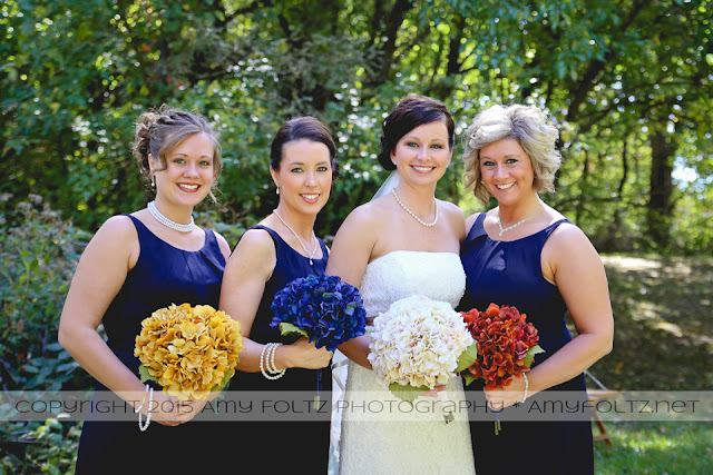 photo of brides and bridesmaids at fall wedding