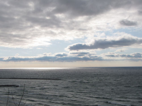 sun on Lake Michigan