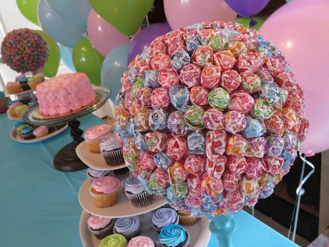rainbow chevron birthday sweets table