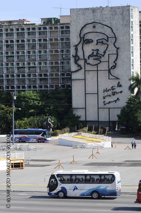 La Plaza de la Revolución, en La Habana, Cuba, durante los preparativos para la visita del Papa Francisco, el 24 de agosto de 2015.