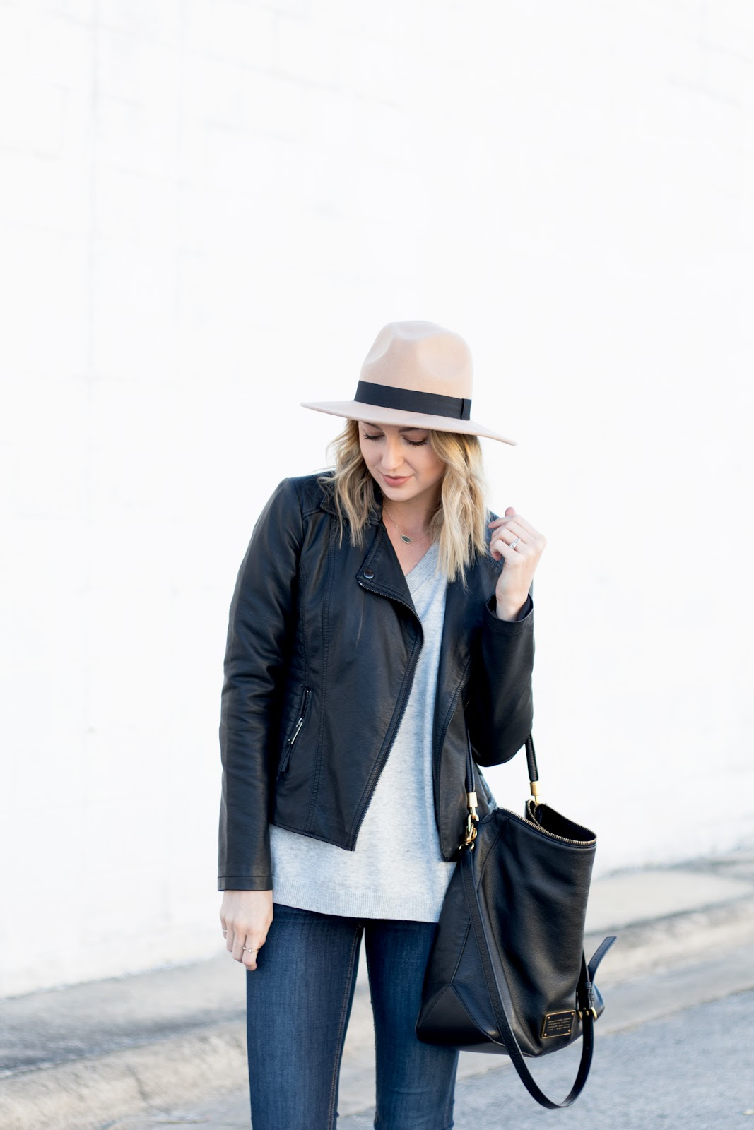 Leather jacket + wool hat