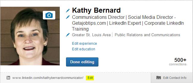 customizing your LinkedIn profile address, customizing your LinkedIn profile url, edit your LinkedIn profile address,