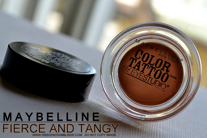 Maybelline Color Tattoo Best Budget Cream Gel Eyeshadow Fierce and Tangy Indian Darker Skin Review Photos Swatches Makeup Looks EOTD FOTD