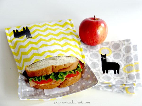 Eco-Friendly Resuable Alpaca Sandwich Bag and Cloth Napkin | popperandmimi.com