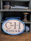 old sugar sack in an antique tin frame