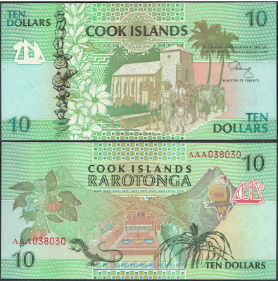 Isole Cook 10 Dollars 1992 P# 8a