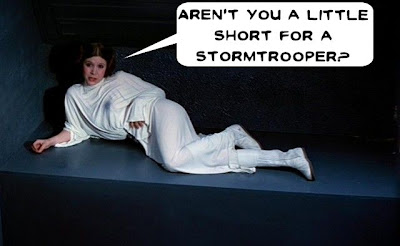 Leia comparing stormtrooper dimensions
