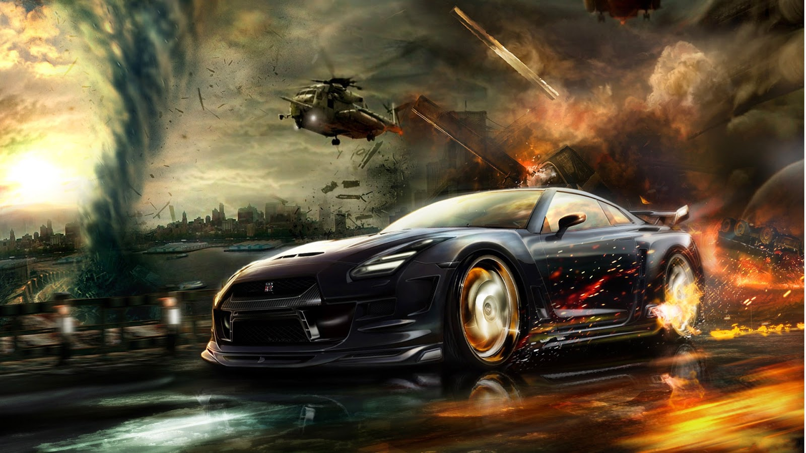 Sports Car In Fire Background Wallpapers