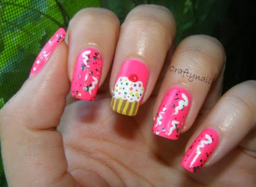 pink birthday nails art designs
