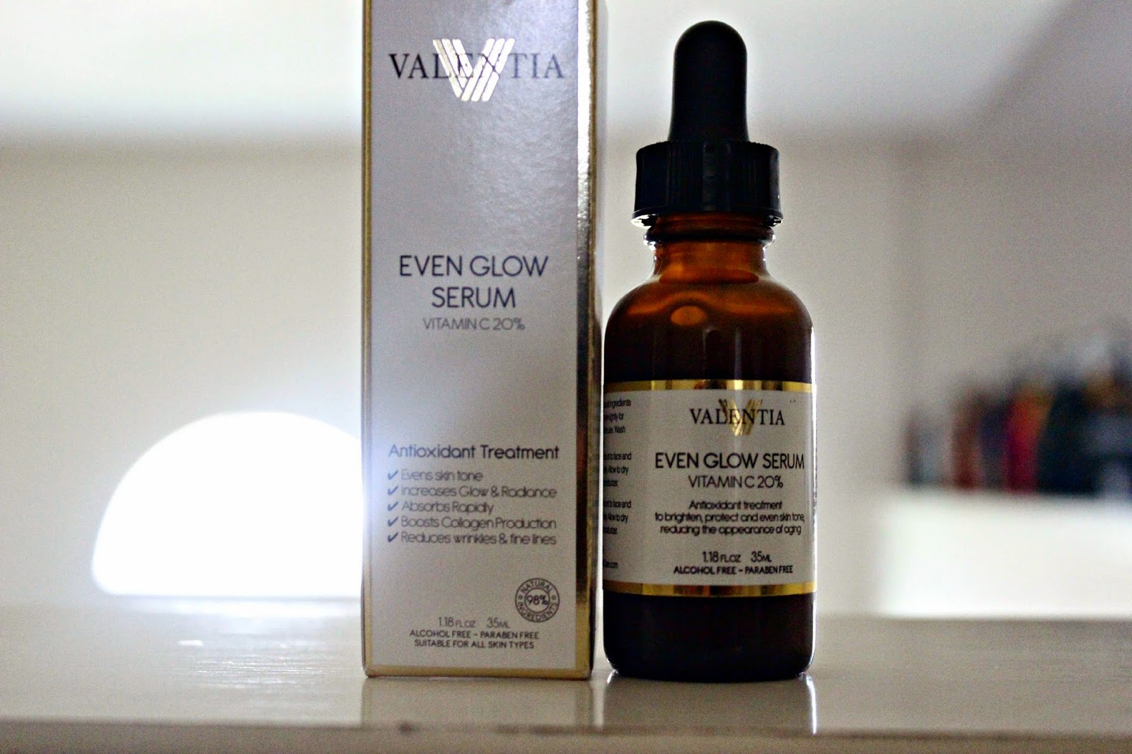 Valentia Even Glow Serum Ingredients, vitamin c, Antioxidant Treatment,  Natural serum, Organic serum, Organic Rosehip Oil, Sea Buckthorn Oil, Brightening Serum, Rapid Absorption, Reduce Sun Spots, Reduce Wrinkles,  Boost Collagen Production, even skin tone, increase glow, increase radiance, reduce fine lines,