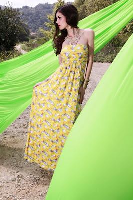 YELLOW MULTI HONEYCOMB STRAPLESS MAXI LONG DRESS