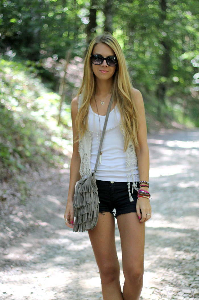 boho chic, fringes, denim shorts