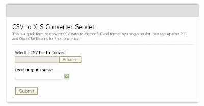 CSV to XLS Conversion - Java Servlet Example
