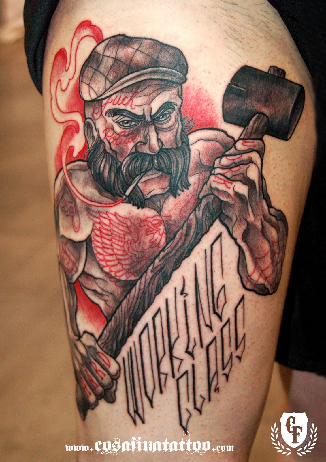 Cosafina tattoo carlos art studio tatuaje reotradicional for Working man tattoo