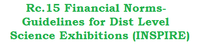 Rc.15 Financial Norms-Guidelines for District Level Science Fair Exhibitions (INSPIRE)