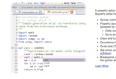 Spyderのエディタ画面イメージ