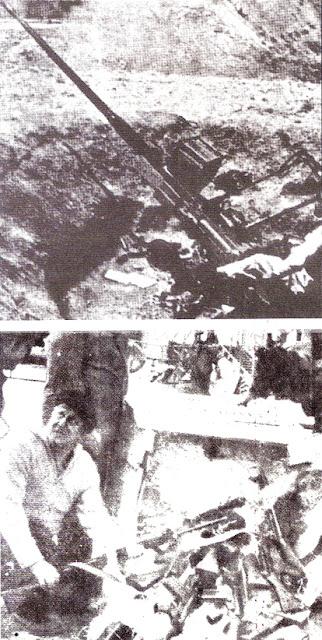 israil'in ve Şah idaresinin Mustafa Barzanî'ye temin ettiği ağır silahlar (üstte) ve Almanların gizlice verdiği silahlar.