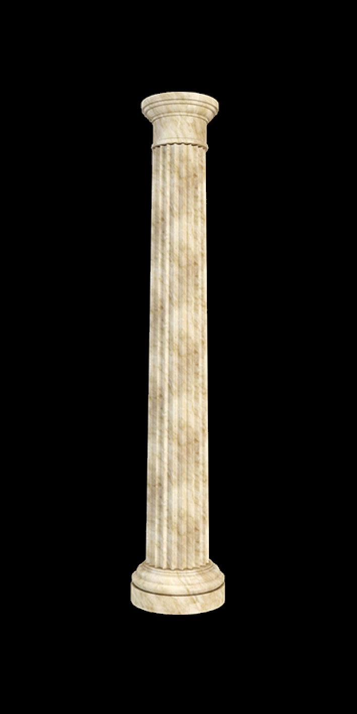 coloana decorativa din polistiren, model doric, simplu, trunchi canelat, basa si capitel simplu, ART C20