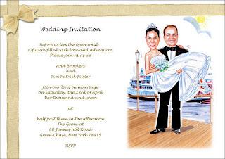 Convites de casamento com caricatura