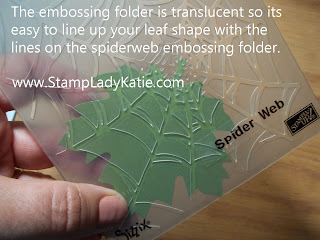 Spider web embossing folder used to make veins in a die cut leaf
