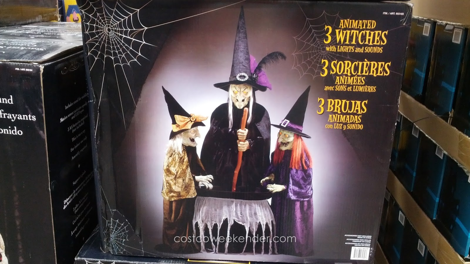 Set of 3 animated witches with lights and sounds costco for 3 witches halloween decoration