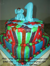 2tier B'day Cake Fondant Icing Decoration With Figure Elephant