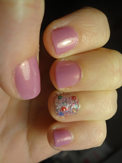 Purple Nails with Glitter Accent Nail
