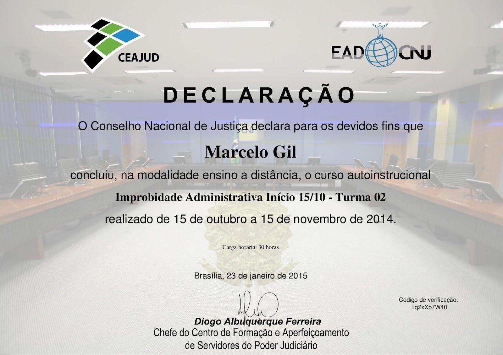 CERTIFICADO DO CONSELHO NACIONAL DE JUSTIÇA CONCEDIDO À MARCELO GIL - 2015