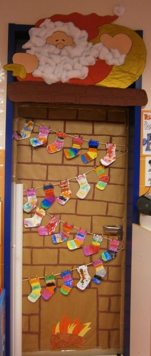 Professora juce decora o de natal para porta da sala de aula for Puertas decoradas para guarderia