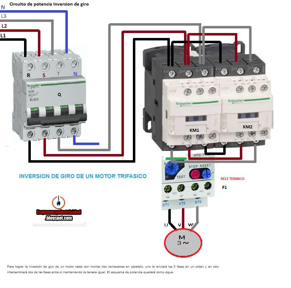 Circuito General : InversiÓn de giro motor trifasico potencia esquemas