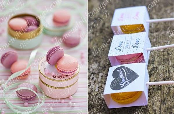 trang trí đám cưới với bánh macaron