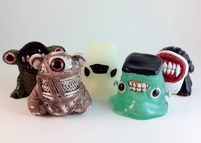 Trick or Teeth Halloween Mini Figure Series by Motorbot - Zombie Hunch, Mummy Meathead, Glow in the Dark Ghost Goober, Frankenstein Booger and Vampire Treature