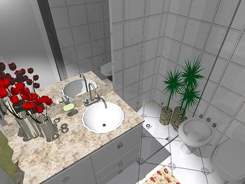Ambientes & Ideias Banheiros -> Banheiro Pequeno Creme