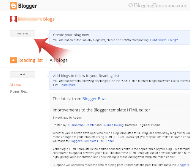 Create A Blogger Blog