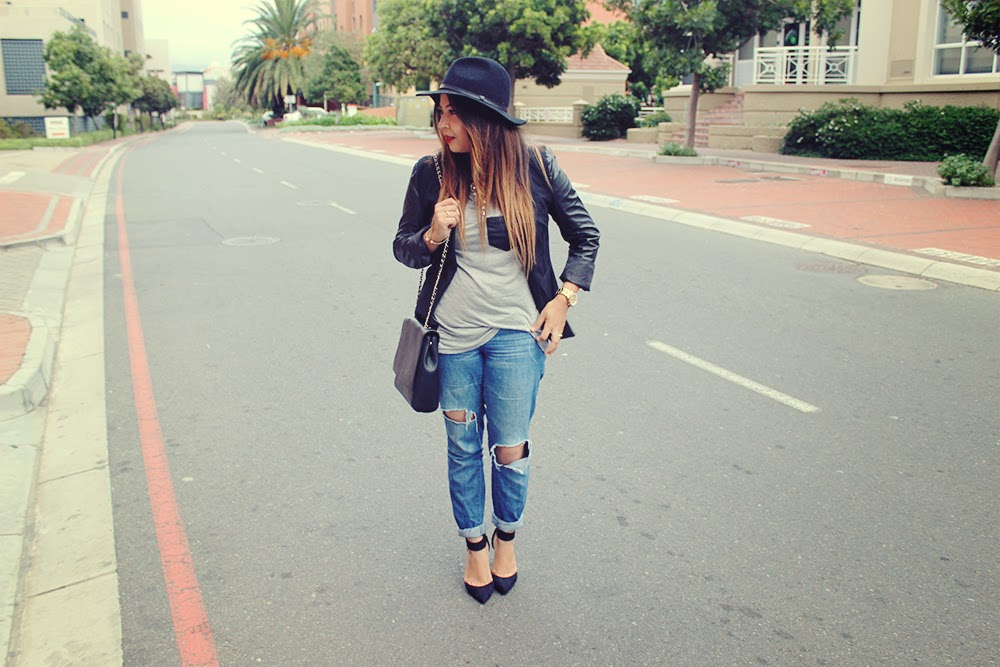 black leather sleeve blazer, grey t shirt, ripped skinny jeans, black felt hat, statement necklace, mac ruby woo, ankle strap heels, fashion blogger cape town, ootd, cape town fashion blog, mac ruby woo